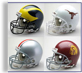 University of Michigan Wolverines Authentic and Replica Football Helmets by Riddell and Schutt